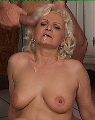 Blonde grandmother takes on a fat cock